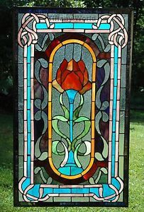 20 X 34 Large Size Tiffany Style Stained Gl Window Panel Rose Flower