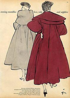 1950 - Balenciaga  Coats Cape Collar by  René Gruau