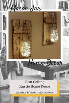 Rustic Home Decor, candle holder, Rustic Lantern, Mason Jar wood candle | #homedecor #shopping #rustic #afflink