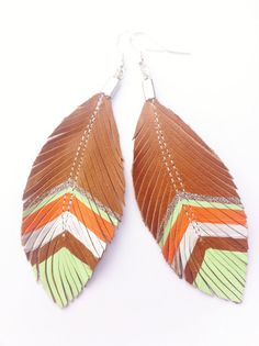 Tribal Feathered Leather Earrings  Green Orange & by sugarshoppe, $14.50