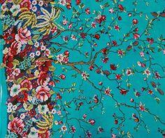 """* Fabric: Pure Cotton.* Print: Multicolour Floral and birds Print..* colour: Aqua blue .* Transparency: Non-Transparent * Width: 44"""" Inches(Ap..."""