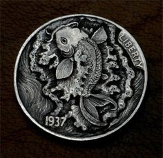 "Hobo Nickel ""Making Waves"" Koi Fish Coin by Howard Thomas"