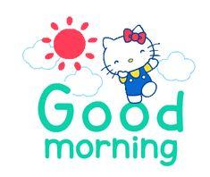 Imagem de hello kitty, wallpaper, and pink Good Morning Gif Funny, Good Night Gif, Good Morning Picture, Good Morning Messages, Good Morning Greetings, Good Morning Wishes, Hello Kitty Imagenes, Good Morning Animation, Cute Phrases