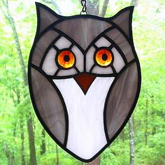 Grey and white stained glass owl ornament by livingglassart home of oddballs and oddities, via Flickr