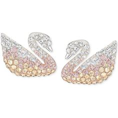 Swarovski Silver-Tone Ombre Crystal Swan Stud Earrings (£79) ❤ liked on Polyvore featuring jewelry, earrings, silver, crystal stone jewelry, ombre earrings, swarovski jewellery, swarovski jewelry and swarovski earrings