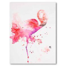 Canvas of pink flamingo