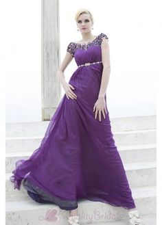 Empire Chiffon and Satin Beaded Prom Dress P1735
