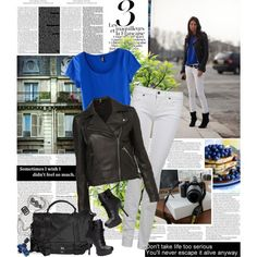 Love the leather jacket with the white jeans. Pop of color brings it all in. created by i-reject-your-reality on Polyvore