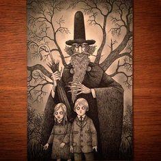 The Necromancer #johnkennmortensen #artwork #necromancer #wizard #deadkids #scary #spooky #creepy #