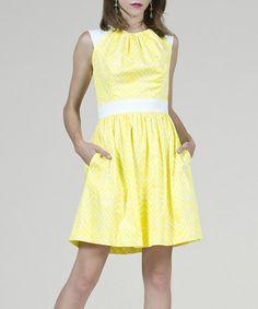 Look what I found on #zulily! Lemon Ikat Olivia Sleeveless Dress by 81 POPPIES #zulilyfinds