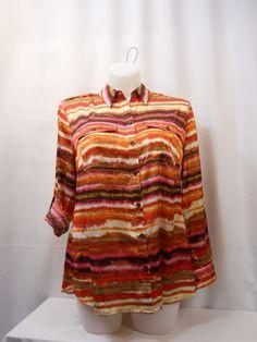 Jones New York Striped Collar Neck Tab Long Sleeves Breast Pockets Top Size 1X  #JonesNewYork #ButtonDownShirt #EveningOccasion