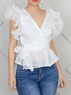 Plain Ruffle Sleeve V-Neck Standard Short Sleeve Blouse White Ruffle Blouse, Blue Blouse, Ruffled Feathers, Peter Pan Collar Blouse, Short Sleeve Blouse, Blouse Neck, Shirt Sleeves, Ruffle Sleeve, Types Of Sleeves