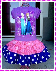 girls FROZEN Princess Anna Elsa Disney fabric twirl party Dress layers of ruffle size 5/6 and 7/8