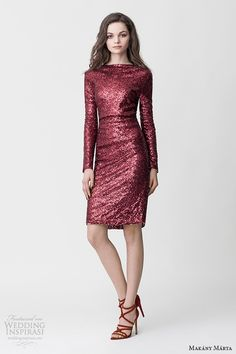 makany marta midsummer night dream bridal ready to wear collection red shimmering long sleeves bateau neckline short dress