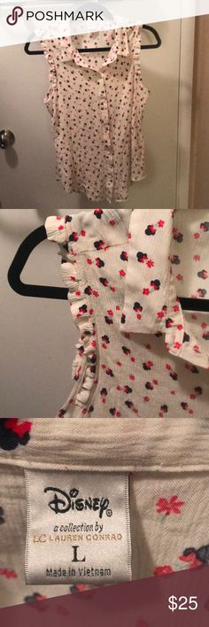 Cause Minnie Mouse button up blouse Worn a few times, in excellent condition. LC Lauren Conrad Tops Blouses