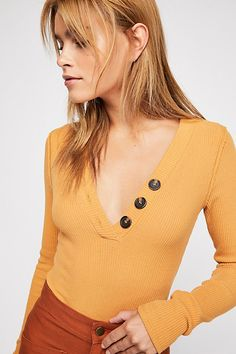 Browse Free People's wide selection of tops for women. Choose from these stylish and comfortable white lace tops, off the shoulder tops, and more! Bodysuit Tops, Ribbed Bodysuit, Free People Store, Tees For Women, Ribbed Top, Layered Tops, Lace Tops, American Made, Autumn Winter Fashion