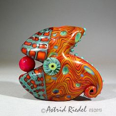 Gold Fishy- Abstract Art Glass Focal bead- lampwork by Astrid Riedel.