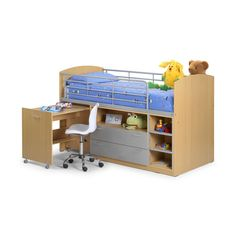 A practical and fun wooden mid sleeper bed frame, featuring a pull out desk and under-bed storage.