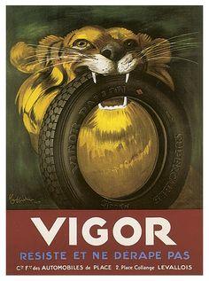 Propaganda antiga de pneu para carro.