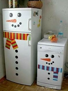 Snowman refrigerator and dishwasher