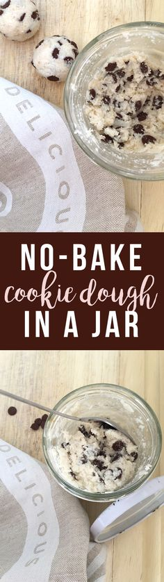 10 Ingredients or Less: this easy No-Bake Coconut Cookie Dough in a Jar is so simple and delicious with less sugar, and no gluten/preservatives/artificial flavors. If you select vegan chocolate chips it can be vegan, too! Click to read the recipe or pin to save for later. GrokGrub.com