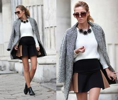 Sheinside Coat, Choies Contrast Color High Waisted Skater Skirt, Zara Ankle Boots, Zara Sweater