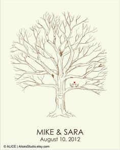 Canvas Wedding Tree Guest Book -  Hand Drawn Fingerprint Tree Print - Thumbprint Guestbook - Free Gift with Purchase on Etsy, kr 158,15