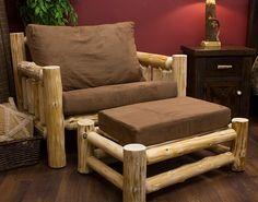 Cedar Cabin Log Chair-and-a-Half - JHE's Log Furniture Place- Rustic log furniture