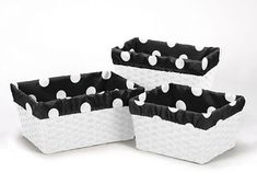 Boxes and Storage 117398: Black White Dot Organizer Storage Kid Basket Liners Fits Small Medium Large Bin -> BUY IT NOW ONLY: $34.99 on eBay!