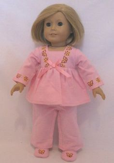 """$26.95 Doll Clothing Darling Little Skinny Our version of Julie's pajamas. The top has a empire_waist, a flared pajama pants with butterfly trim, and includes a pair of pink slippers with a butterfly embroidered on each toe. Fits American Girl or Any Similiar 18"""" Dolls. by Hail Mary Gifts, http://www.amazon.com/dp/B00B8ARL7Q/ref=cm_sw_r_pi_dp_461frb13FRHYP"""