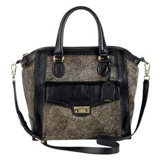 Zoe Haircalf Structured Satchel - love that tiny animal print