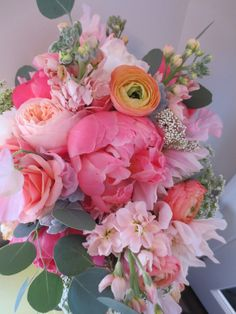 Coral & Peach Spring Bouquet with peonies, garden roses, ranunculus