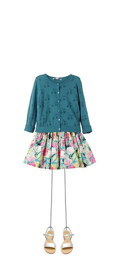 Openwork cherries cardigan Pigeon blue Suzon skirt Multicoloured Flowers Zoé sandals Silver