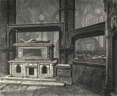 Tomb of Henry III (left) and Eleanor of Castile (right), from inside the Chapel of Edward the Confessor.