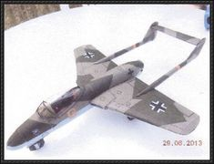 "This aircraft paper model is a Focke-Wulf Project VII Flitzer (""streaker"" or ""dasher"", sometimes incorrectly translated as ""madcap""), a jet fighter under d Paper Airplane Models, Paper Model Car, Model Airplanes, Paper Models, Paper Planes, Diy Paper, Paper Crafts, Origami Plane, Papercraft Download"