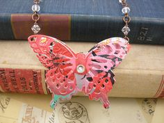 3D Beautiful Butterfly Statement Necklace. Recycled Soda Can Art | JMP designs