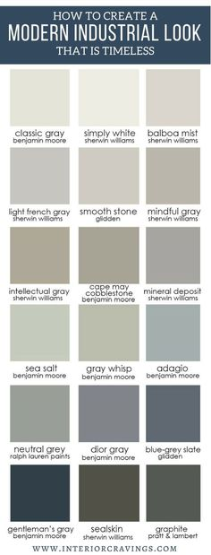 How to create a modern industrial look that is timeless - neutral paint color pa. How to create a modern industrial look that is timeless - neutral paint color palette options for a modern industrial look in your decor. Paint Color Palettes, Neutral Paint Colors, Interior Paint Colors, Interior Design, Grey Paint, Interior Modern, Interior Ideas, Interior Inspiration, Kitchen Inspiration