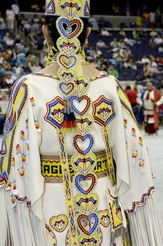 the back work of a women's southern buckskin. all the color is beadwork.