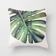 Watercolour Palm Leaf Print Throw Pillow by weareestablished Modern Throw Pillows, Room Decor, Wall Decor, Leaf Prints, Bedroom Wall, Watercolour, Palm, Living Room, Artwork