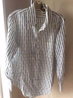"Men's VINTAGE long sleeve ARROW KENT SHIRT oversized collar 24"" armpit disco era"