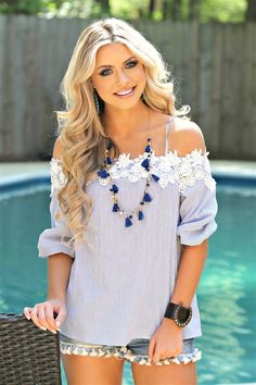 Our Started Something Top is a cold shoulder top with stripes throughout. #southernfriedchics