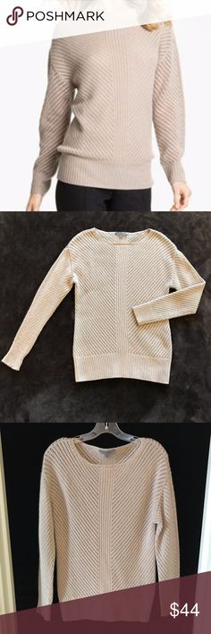 Classiques Nordstrom 100% Cashmere Sweater Tan S 100% cashmere tan sweater by Classiques from Nordstrom.  Open weave style with ribbed material on bottom hem and cuffs.  Excellent pre-owned condition.  Bust across the front measures approx. 17.5 inches, and the length of the sweater measures approx. 27.5 inches. Nordstrom Sweaters Crew & Scoop Necks