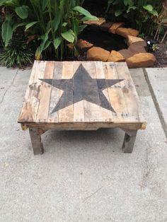 wood pallet coffee table by PalletArtandFurnitur on Etsy, $250.00