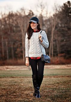 Sweater and bag by Coach, shirt by Madewell, jeans by Henry & Belle, boots by Ann Taylor, hat by J.Crew. (November 22, 2013)