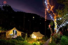 Tents and fairy lights at Zostel Ooty in India