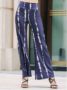 Striped Wide Leg Palazzo Pants - PURPLISH BLUE L