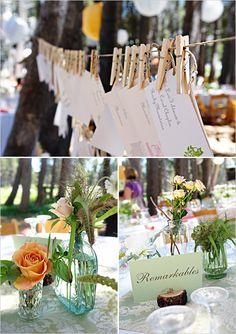 like the lovely vases and bottles...from 'the wedding chicks blog'