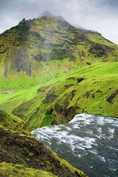 Green Iceland Art Print. This is the upper end of the Skogafoss waterfall in Iceland, river Skoga and a lovely green landscape. Available as poster, framed print, metal, acrylic or canvas print. Art for your Home Decor and Interior Design needs by Matthias Hauser.