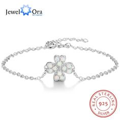 Flower Shape With Milky Opal Stone Bracelets & Bangles 925 Sterling Silver Bracelets For Women