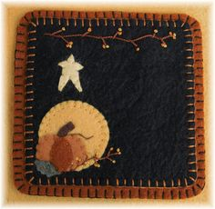 This beautiful Autumn candle mat set is such a warm and inviting design for your fall decor. The colors are amazing! The completed candle mat measures approximately 13 inches and the mug rug is 5 inches square.Stitch it up using wool or wool felt. Shown here in wool felt.  Very unique & totally one-of-a-kind! This is an e-pattern and not a paper pattern! As soon as payment is received, your pattern will be available for downloading...no waiting for snail mail...you can start sewing right…